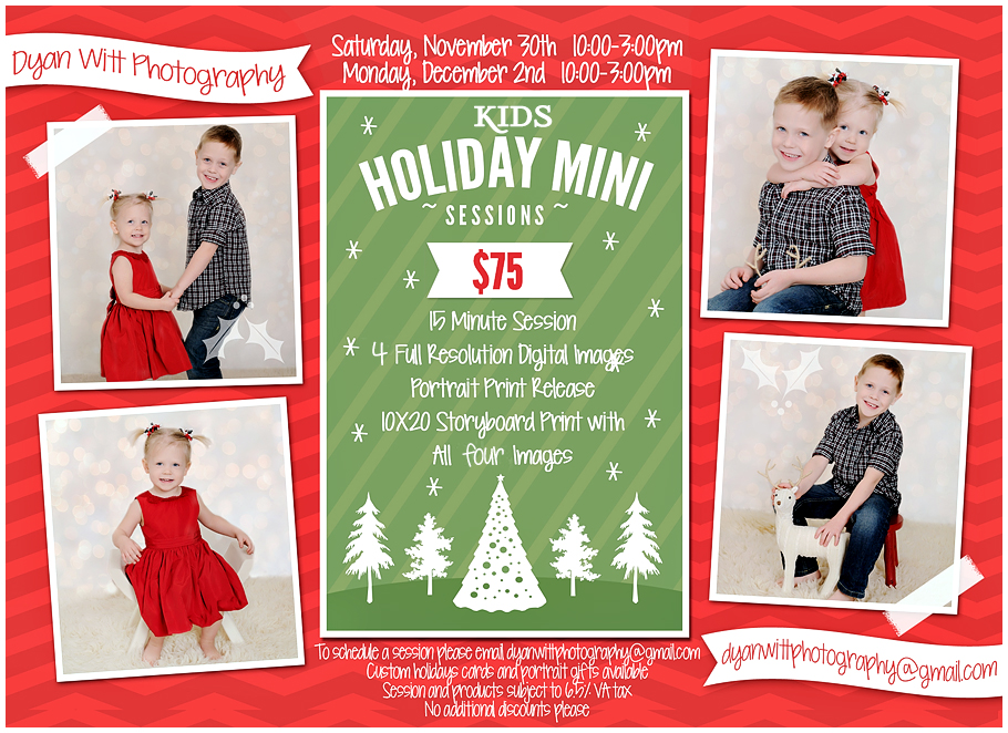 4b5c915a2 And don't forget there are still a couple spots available for the Kids  Holiday Mini Sessions. Contact the studio to set up your reservation.