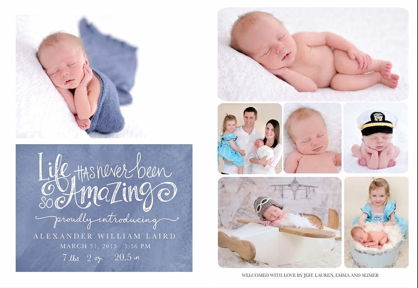 Each and every DWP client receives a custom set of newborn announcements as a special gift!